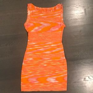 MISSONI MARE stripe dress low back w fringe collar